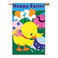 """Two Group - Easter Chick Spring - Seasonal Easter Applique Decorative Vertical House Flag 28"""" x 40"""""""