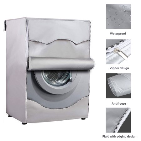 Image of Washing Machine Cover, Outdoor Heavy Duty Waterproof Fabric Durable Zipper Anti-UV Dustproof, Washer/Dryer Cover Fit Front-Load Washers/Dryers,All Weather Protection Black Coated - X/XL Sizes/Sliver