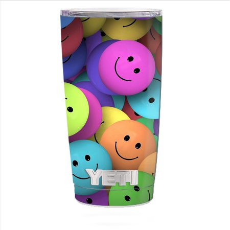 Facet Tumbler (Skin Decal For Yeti 20 Oz Rambler Tumbler Cup / Colorful Smiley Faces Balls)