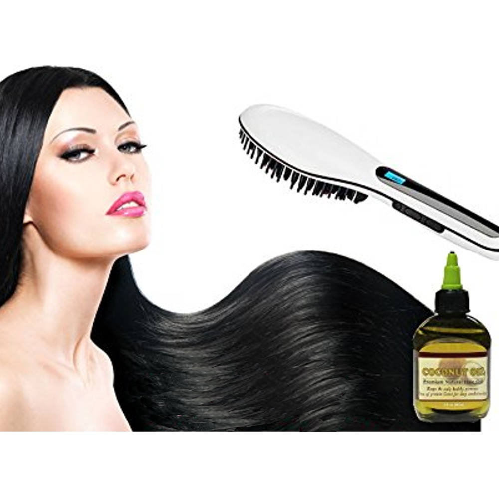 Anti Scald Hair Straightening Ceramic Brush with Coconut Oil - White