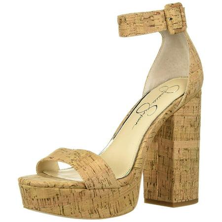 Jessica Simpson Caiya Natural Heeled Open Toe Cork Platform Sandals Toe Platform Slingback Heel