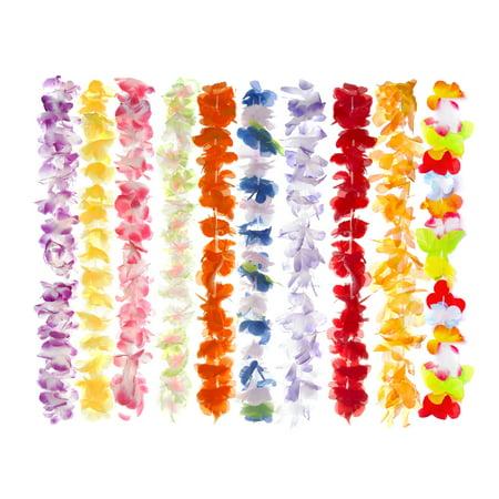 KELZ KIDZ Premium Hawaiian Leis (12 Pack) Necklaces Set for Kids & Adults for Luau Party Supplies with Bonus 20 Umbrella Cocktail - Hawaiin Lei