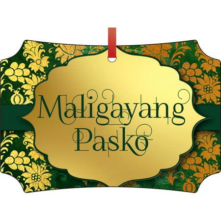 Merry Christmas In Filipino.Maligayang Pasko Merry Christmas In Filipino Double Sided Elegant Aluminum Glossy Christmas Ornament Tree Decoration Unique Modern Novelty Tree