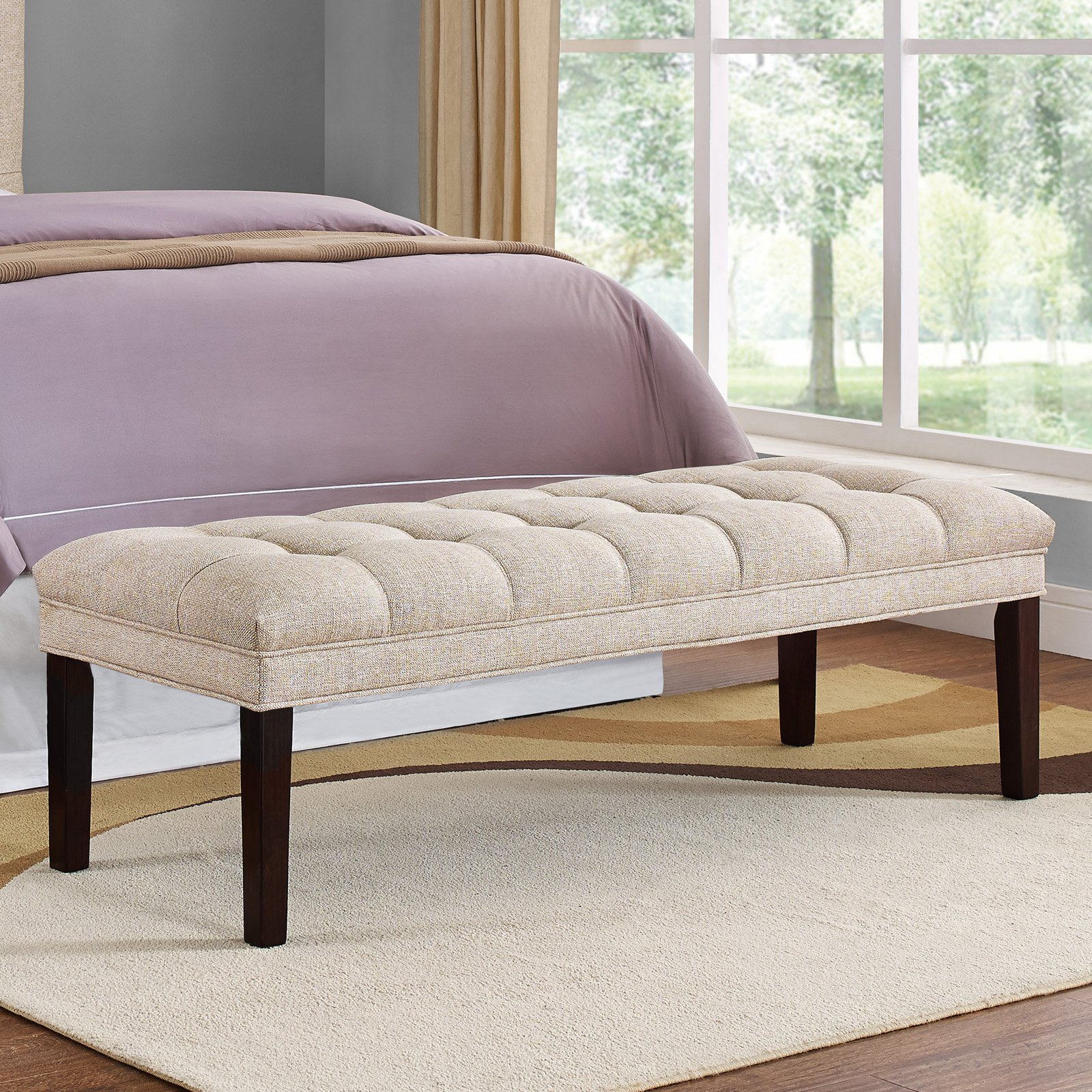 Home Meridian Upholstered Tufted Bed Bench - Tan