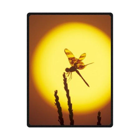 RYLABLUE Sunlight Dragonfly Silhouette Fleece Blanket Throws 58x80 inches - image 1 of 3