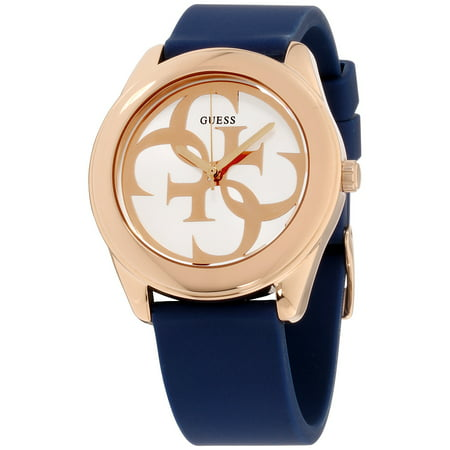 Guess G Twist Silver Dial Silicone Strap Ladies Watch