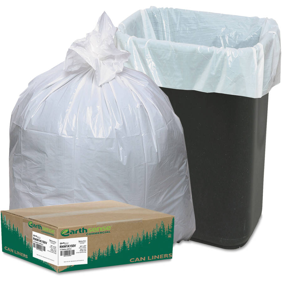 Earthsense Commercial Tall White Kitchen Bags, 13 gal, 150 ct