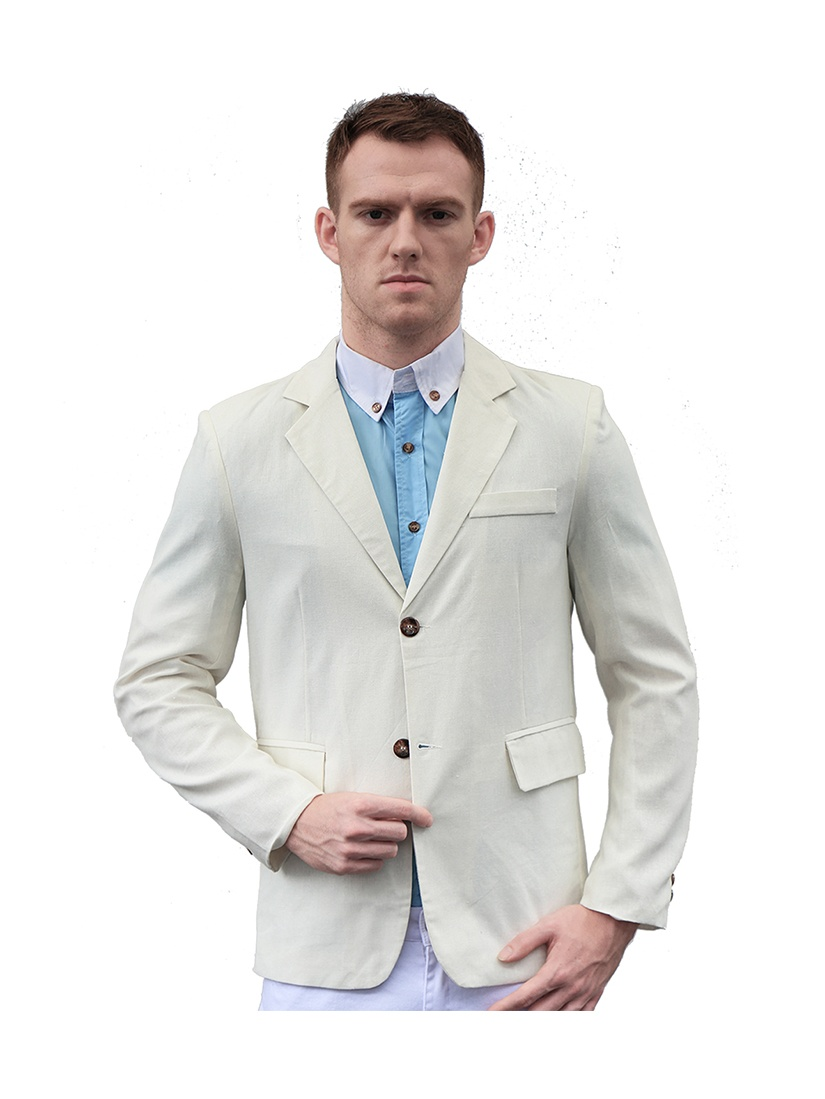 Azzuro Men's Notched Lapel Long Sleeves Single Breasted Blazer Off-White (Size M / 38)
