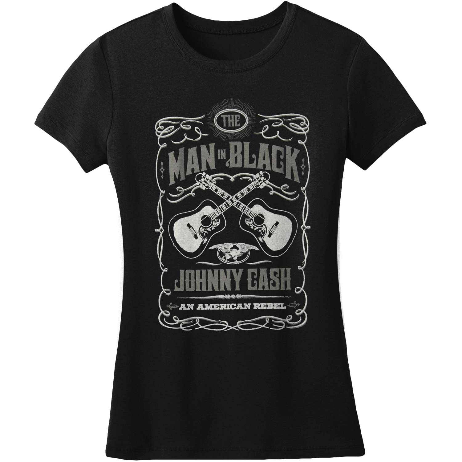 Man in Black Johnny Black womens tshirt