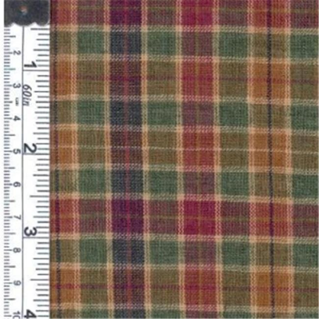 Textile Creations 1315 Rustic Woven Fabric, Medium Plaid Green, Raspberry And Olive, 15 yd.