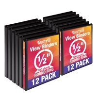 Samsill Economy 3 Ring Binder Organizer, .5 Inch Round Ring Binder, Customizable Clear View Cover, Black Bulk Binder 12 Pack