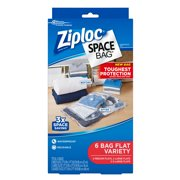 Ziploc Space Bags 6 Count Flat Bags 2 Medium 2 Large 2