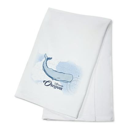 Seaside, Oregon - Whale - Blue - Coastal Icon - Lantern Press Artwork (100% Cotton Kitchen Towel)