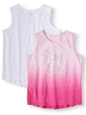 Athletic Works Solid & Graphic Active Tank Tops, 2-Pack (Little Girls & Big Girls)