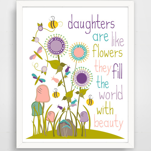 Finny and Zook Daughters Are Like Flowers, They Fill the World with Beauty Paper Print