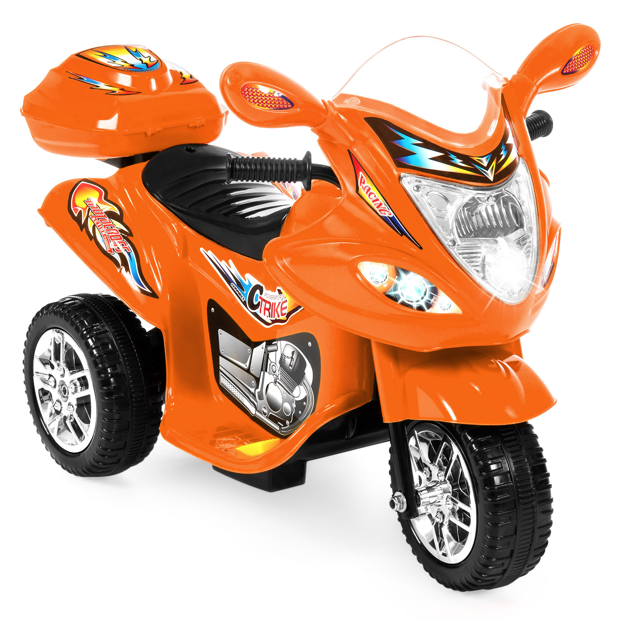 Best Choice Products 6V Kids Battery Powered 3-Wheel Motorcycle Ride-On Toy w/ LED Lights, Music, Horn, Storage - Red