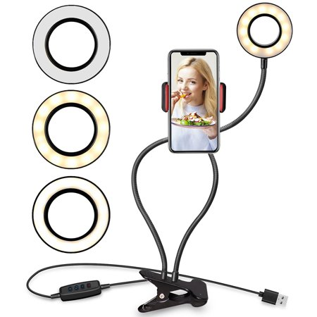 Reactionnx Ring Light with Cell Phone Holder Stand for Live Stream/Makeup, LED Camera Lighting, 3-Light Mode, 10-Level Brightness, with Flexible Arms Compatible with IPhone 8 7 6 Plus X (Iphone 7 Plus Portrait Mode For Android)