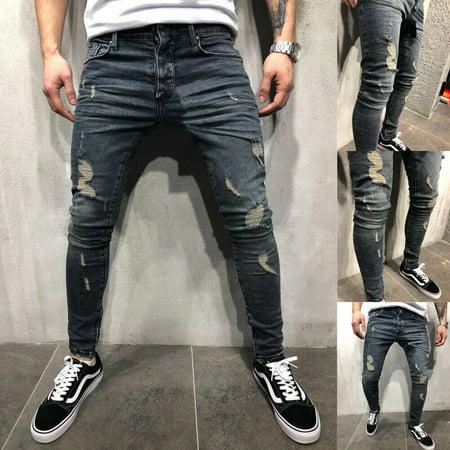 SUNSIOM Men Ripped Biker Skinny Jeans Frayed Pants Casual Slim Fit Jogger Denim Trousers ()