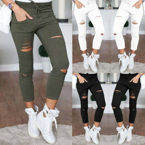 Details about  Womens Ladies Stretch Faded Ripped Slim Fit Skinny Denim Jeans Si