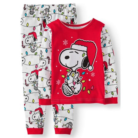 snoopy christmas long sleeve tight fit pajamas 2pc set toddler girls