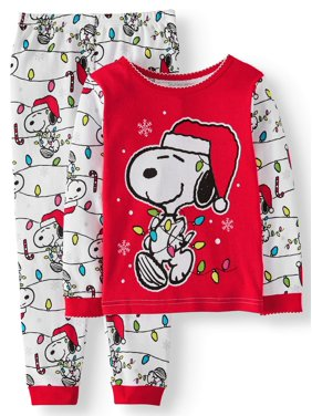 Snoopy Christmas Long Sleeve Tight Fit Pajamas, 2pc Set (Toddler Girls)