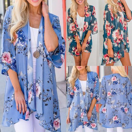 T Bird Jacket (Women Vintage Floral Loose Shawl Kimono Cardigan Boho Chiffon Tops Jacket)