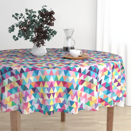 Round Tablecloth Geometric Abstract Triangles Colorful Modern Cotton Sateen