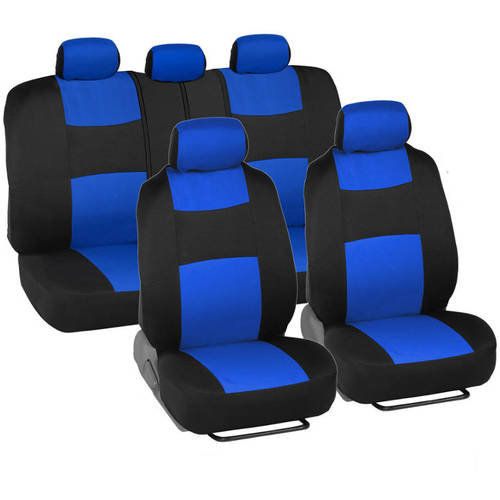 BDK PolyCloth Car Seat Covers with Floor Mats and Steering Wheel Cover Full Set