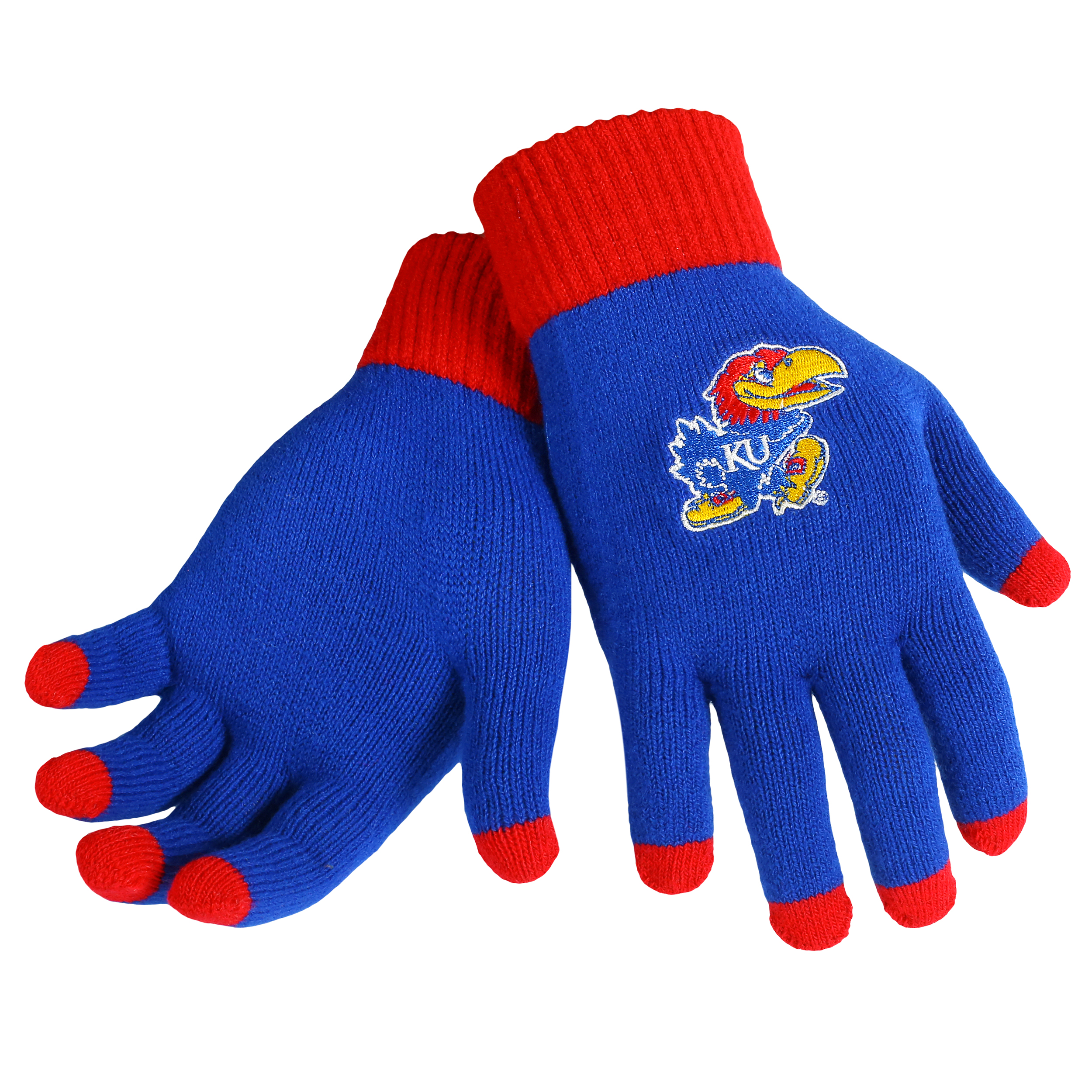 Kansas Jayhawks Official NCAA Glove Solid Outdoor Winter Stretch Knit by Forever Collectibles 262749 by Forever Collectibles