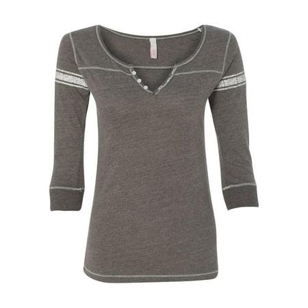 MV Sport T-Shirts Women's Hailey Henley Three-Quarter Sleeve Shirt