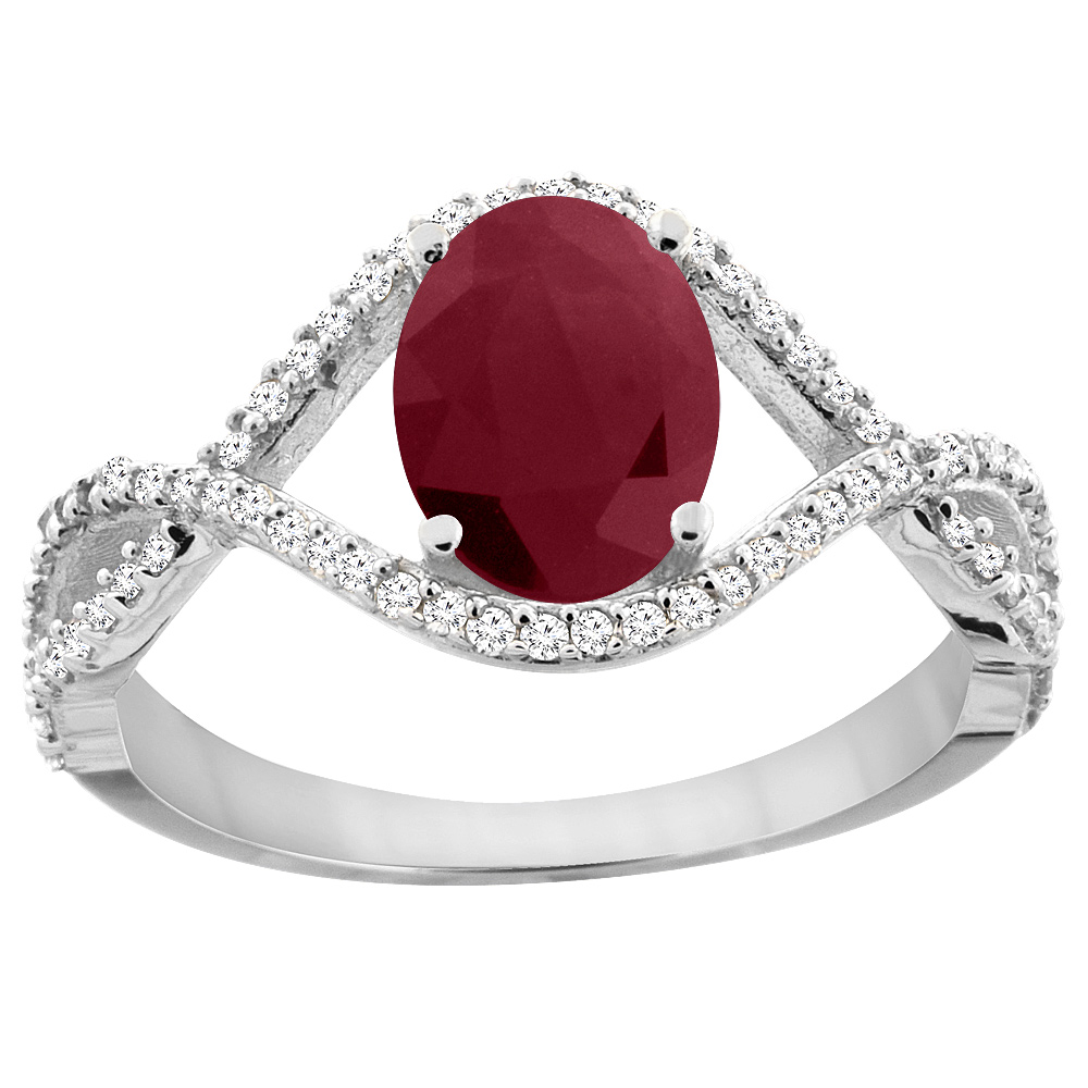 14K White Gold Natural HQ Ruby Ring Oval 8x6 mm Infinity ...