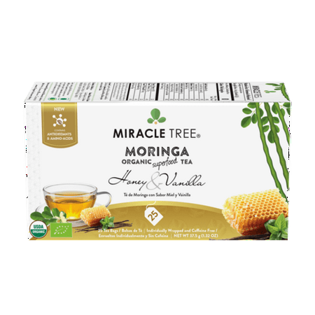 Miracle Tree - Organic Moringa Superfood Tea, 25 Individually Sealed Tea Bags, Honey & Vanilla (6 Pack) ()