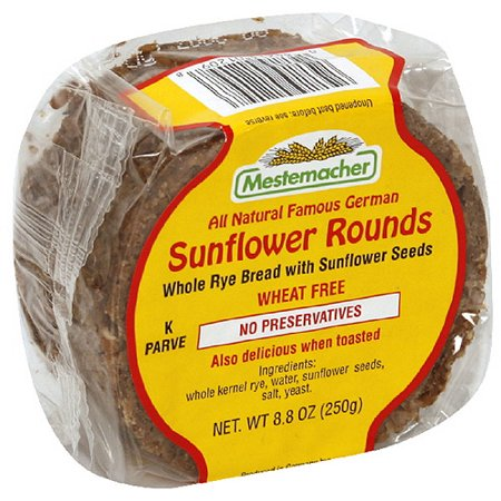 Mestemacher Whole Rye Bread Sunflower Rounds, 8 8 oz (Pack of 8)