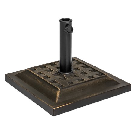 Best Choice Products Outdoor Patio Heavy Duty Steel Square Umbrella Base Stand w/ Decorative Basketweave Pattern - Black
