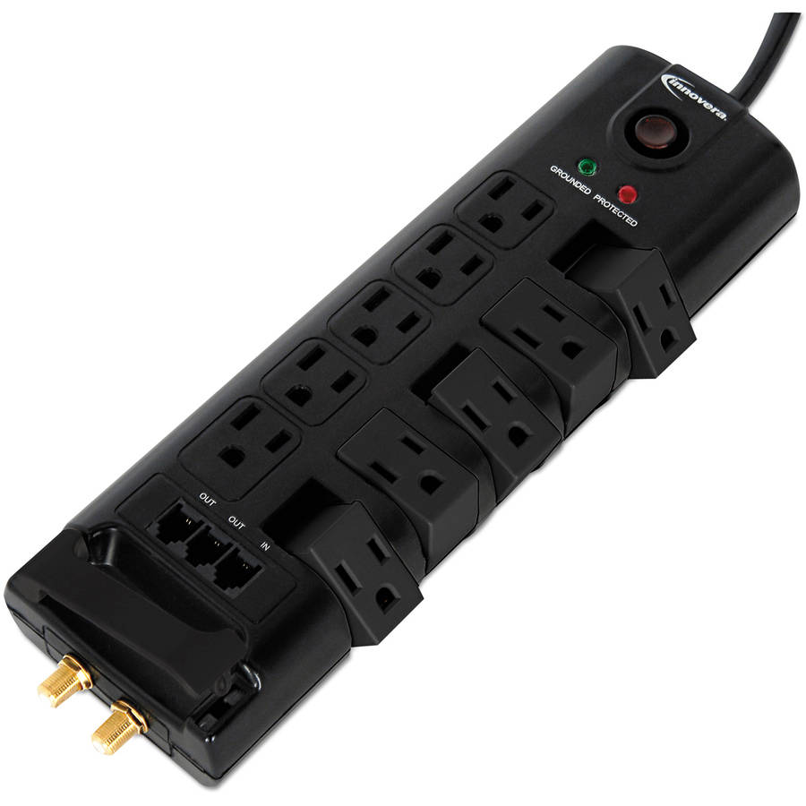 Innovera Surge Protector, 10 Outlets, 6' Cord, 2880 Joules, Black