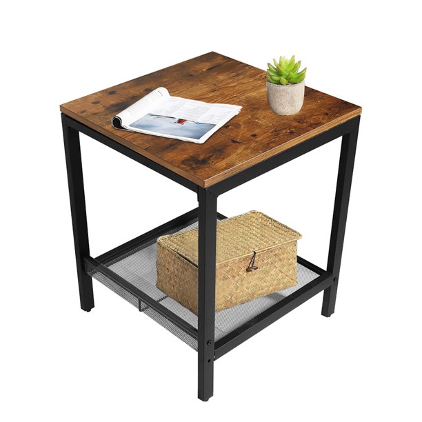 end table for living room 2tier industrial side table