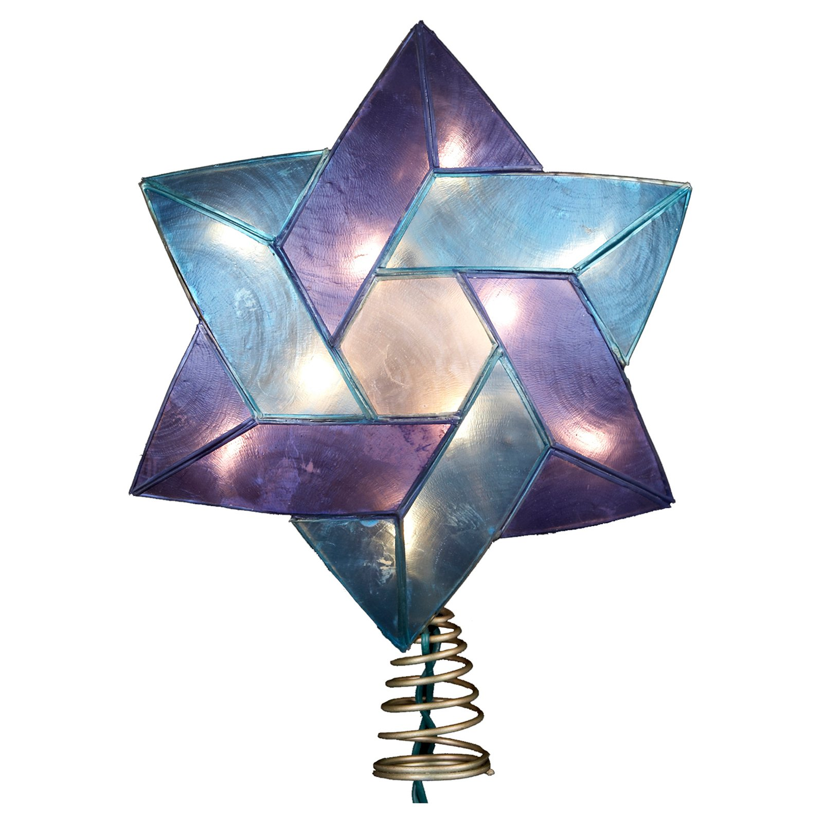 "Kurt Adler 10-Light 8.5"" Capiz Color Star of David Treetop"