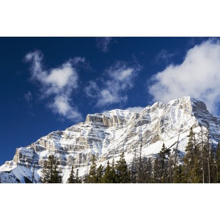 Snow Covered Mountain Peak With Evergreen Trees With Blue Sky And Clouds Banff Alberta Canada Canvas Art   Michael Interisano  Design Pics  38 X 24