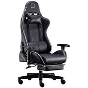 Gaming Chair Racing Office Chair High Back Computer Desk Chair PU Leather Chair Executive and Ergonomic Swivel Chair with Headrest and Lumbar Support (Black)