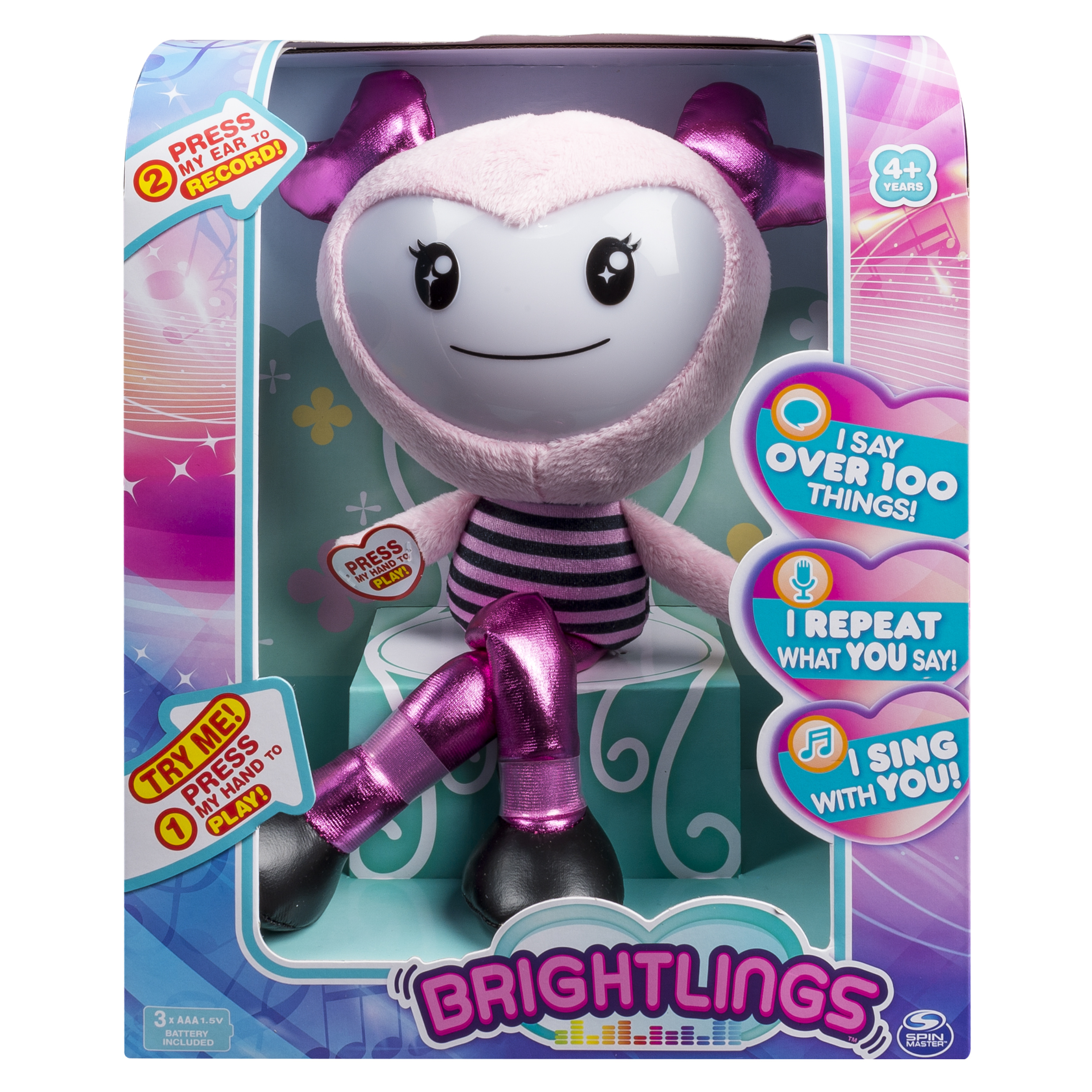 "Brightlings, Interactive Singing, Talking 15"" Plush, Pink, by Spin Master"