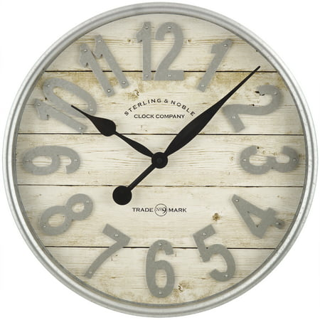 Better Homes & Gardens Farmhouse Plank with Galvanized Finish Wall Clock, 1 Each Covert Wall Clock Camera