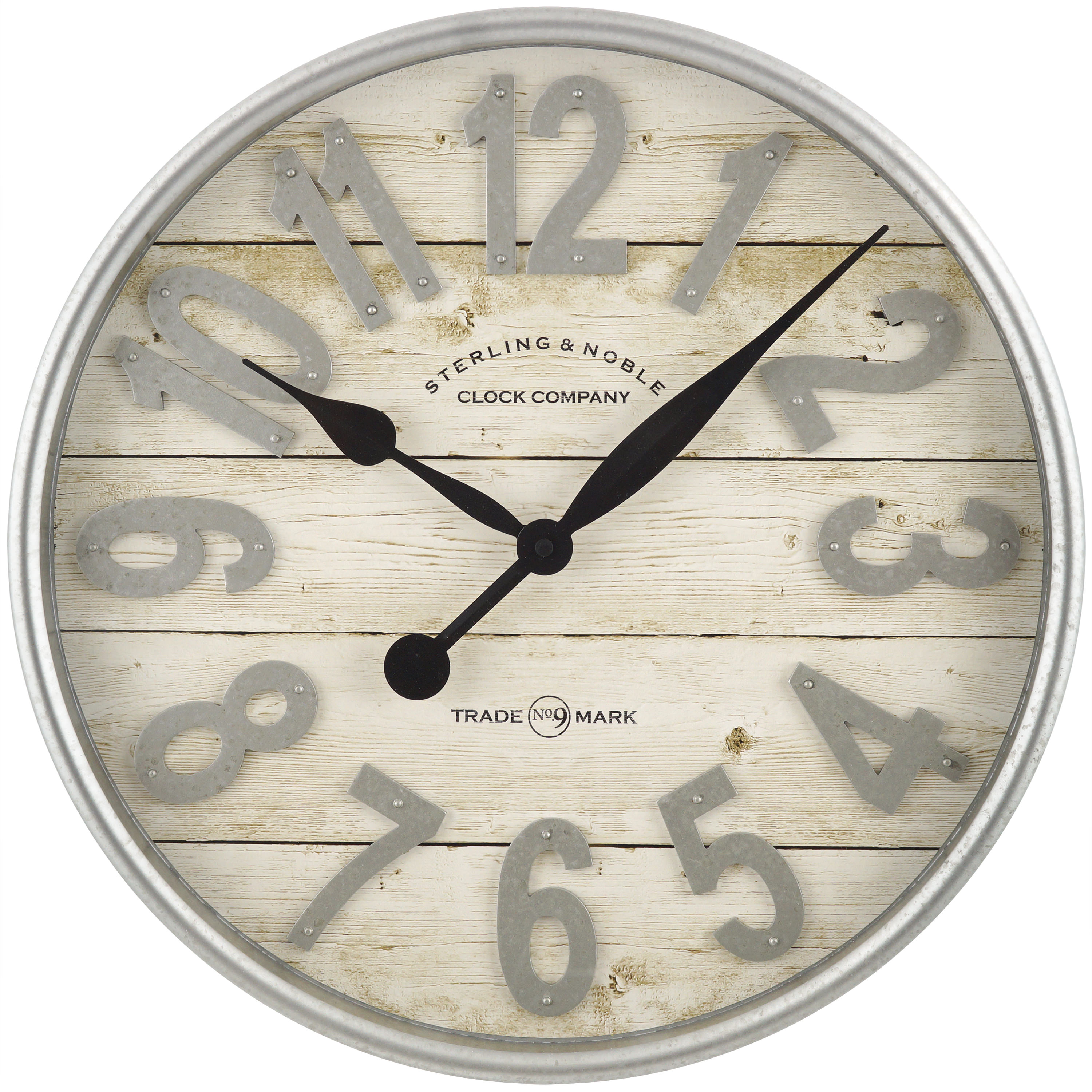 Better Homes & Gardens Farmhouse Plank with Galvanized Finish Wall Clock
