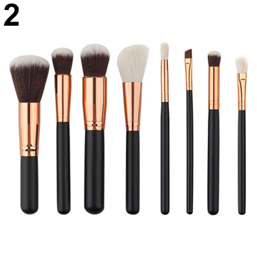 8 Pcs Wooden Handle Makeup Brushes Set Foundation Blush Eyeshadow Cosmetic Brush