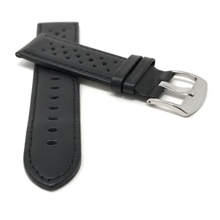 3d2d48f59 18mm GT Rally Perforrated, Vented Racer Leather Watch Strap Band, Stainless  Steel Buckle ...
