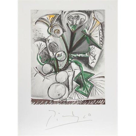 Pablo Picasso 14570 Le Bouquet, Lithograph on Paper 29 In. x 22 In. - Black, White, Green, Yellow
