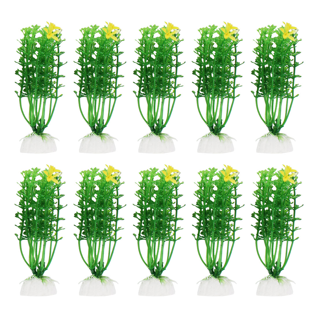 """Unique Bargains 4.3"""" High Aquarium Green Yellow Flower Detail Plastic Water Grass Decor 10 Pcs"""