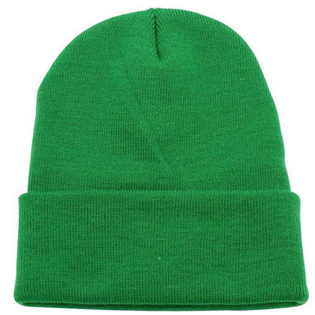 Men Women Youth Skull Cuffed Beanie Ski Toboggan Plain Knit Hat Cap - Kelly Green