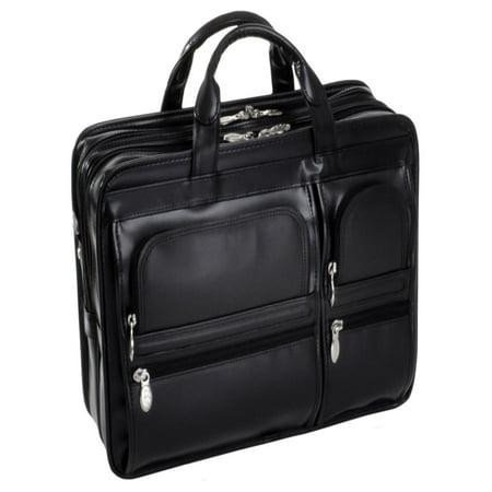 McKlein HUBBARD, Double Compartment Laptop Briefcase, Top Grain Cowhide Leather, Black