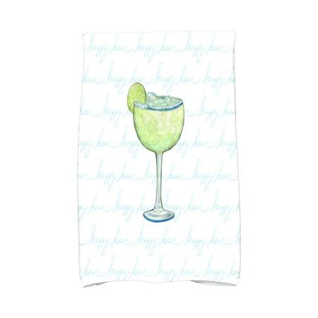 Margarita Daisy (Simply Daisy, 16 x 25 inch, Margarita Text Fade Happy Hour, Geometric Print Kitchen Towel, Pale Blue)