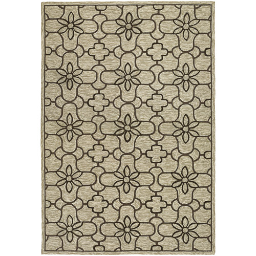 Couristan Fresco Summer Daisy Hooked Courtron Rug, Sand and Chocolate